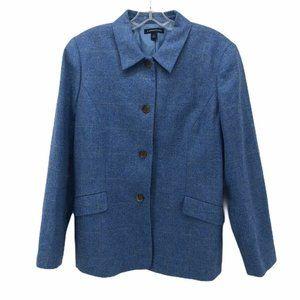 Lands End Womens Suit Jacket Blazer Blue Size 14 P